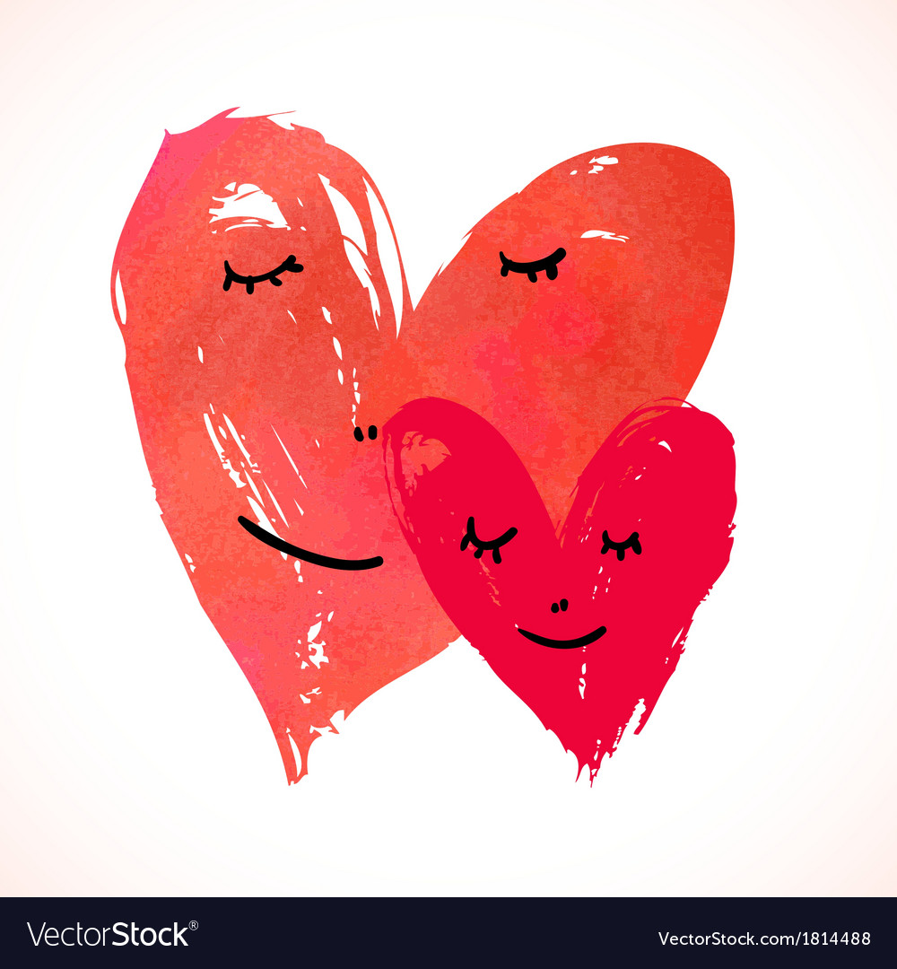 Two watercolor painted hearts with faces vector | Price: 1 Credit (USD $1)