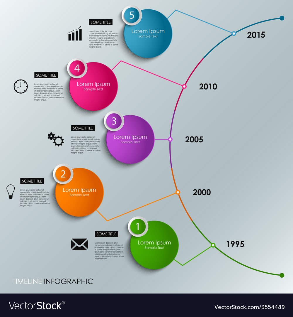 Abstract infographic timeline colored round vector | Price: 1 Credit (USD $1)