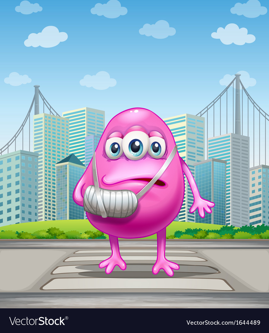 An injured pink monster crossing the street vector | Price: 1 Credit (USD $1)