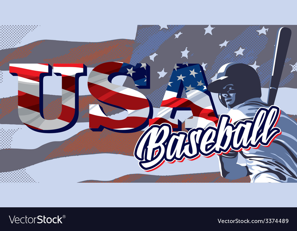 Baseball flag usa vector | Price: 3 Credit (USD $3)