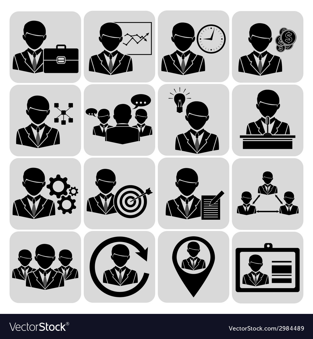 Business and management icons black vector | Price: 1 Credit (USD $1)