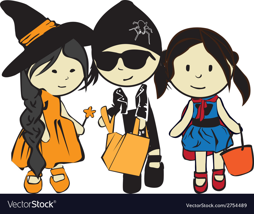 Children on a holiday halloween vector | Price: 1 Credit (USD $1)