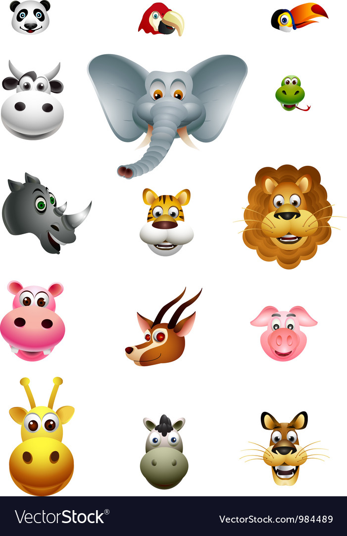 Cute head animal cartoon collection vector | Price: 1 Credit (USD $1)