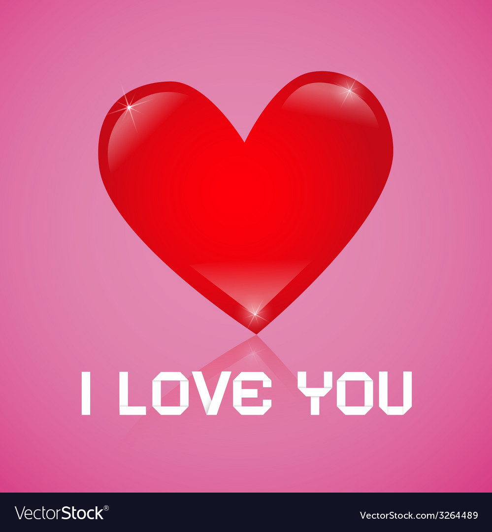 I love you red heart on pink background vector | Price: 1 Credit (USD $1)