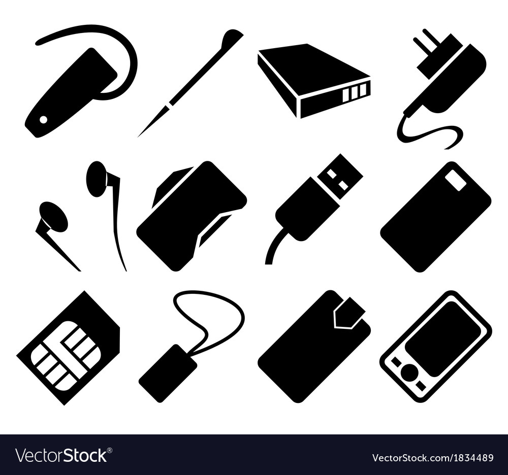 Mobile phone accessories icon set vector