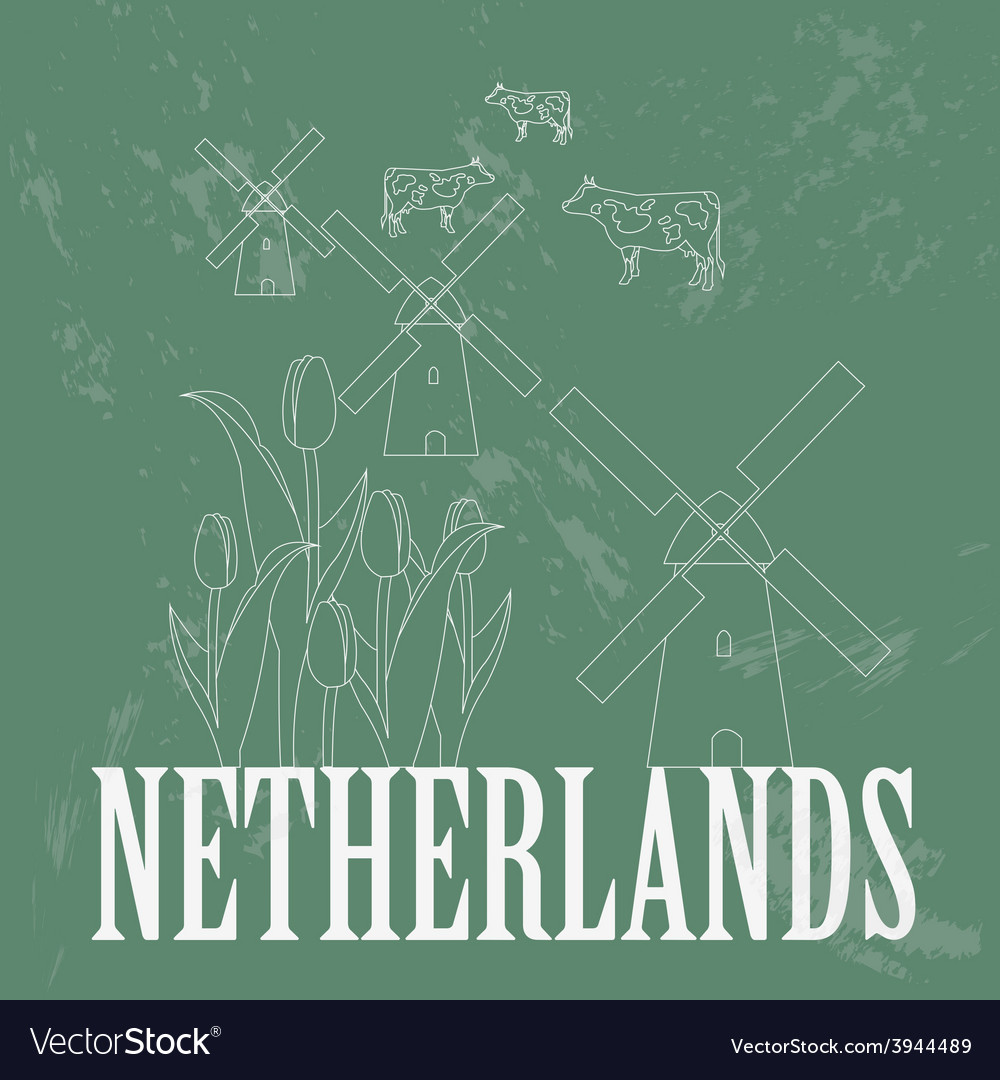 Netherlands landmarks retro styled image vector | Price: 1 Credit (USD $1)