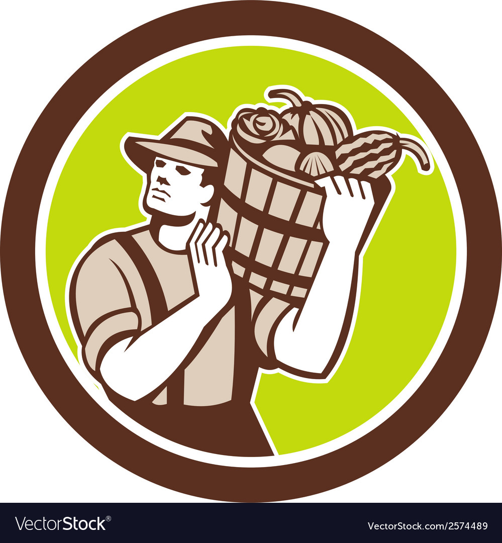 Organic farmer carrying harvest bucket retro vector | Price: 1 Credit (USD $1)