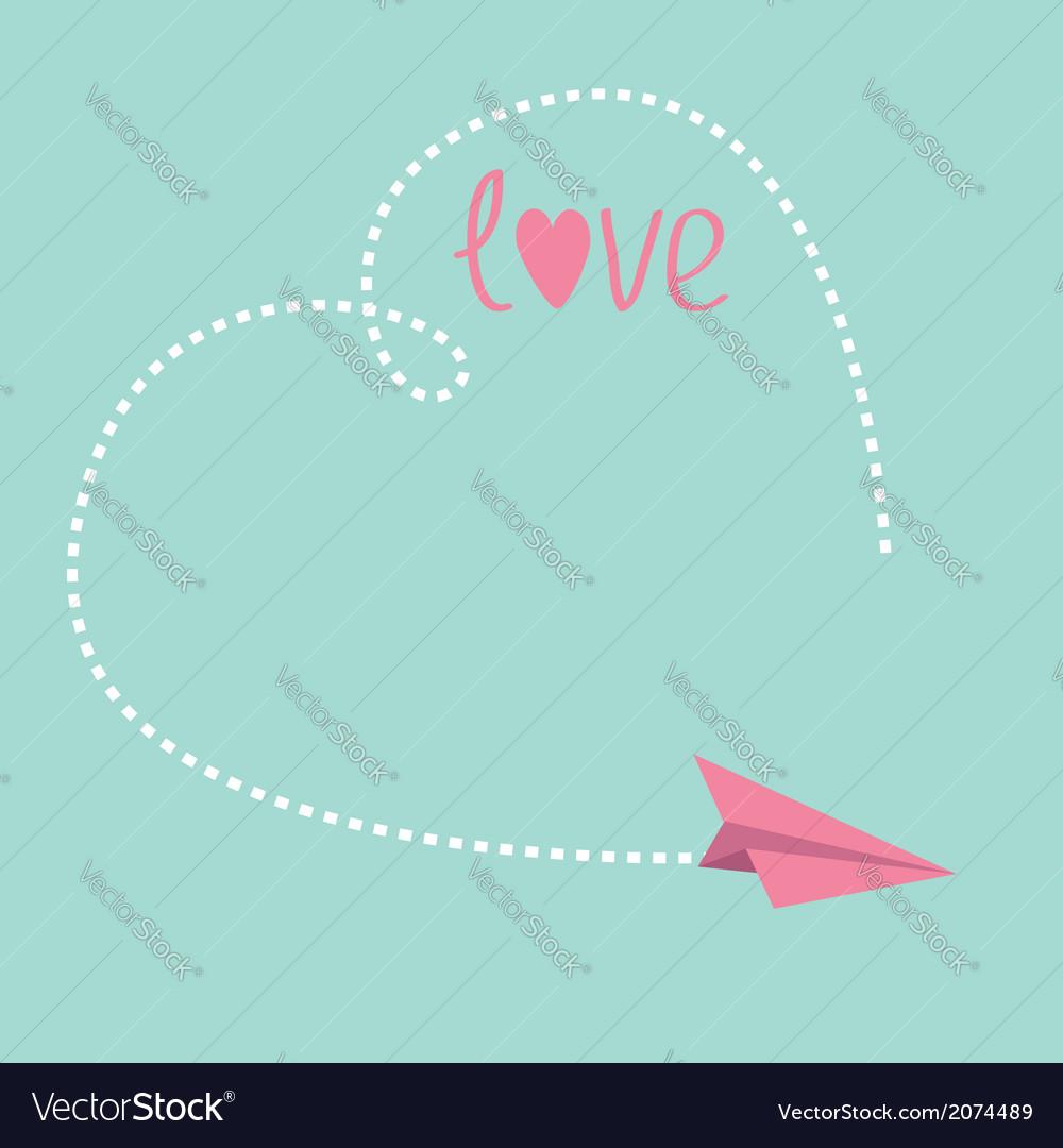 Origami paper plane big dash heart in the sky love vector | Price: 1 Credit (USD $1)