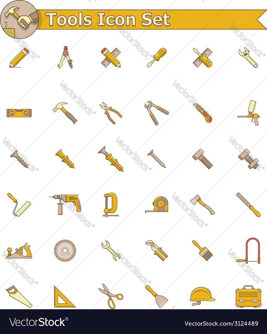 Tools icon set vector | Price: 1 Credit (USD $1)
