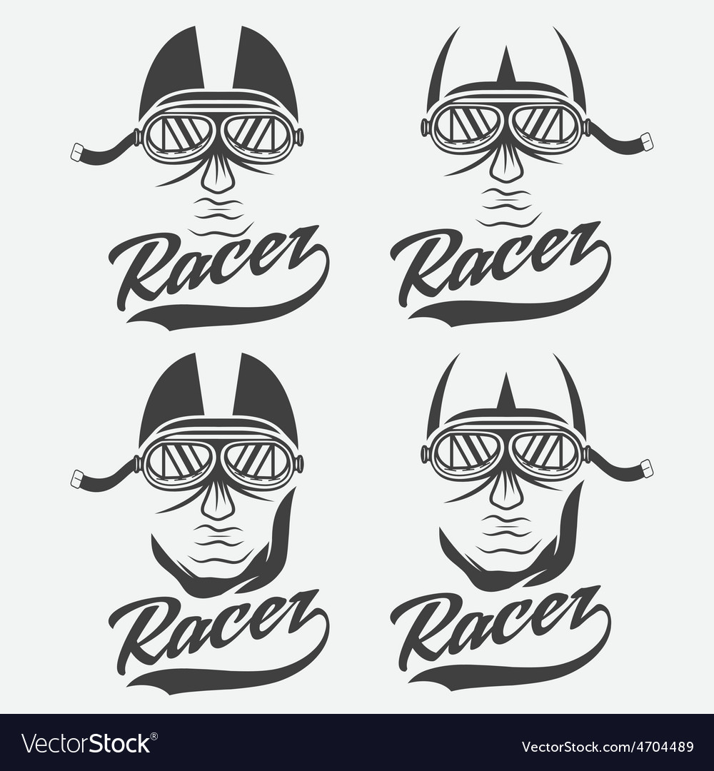 Vintage set of racer head vector | Price: 1 Credit (USD $1)