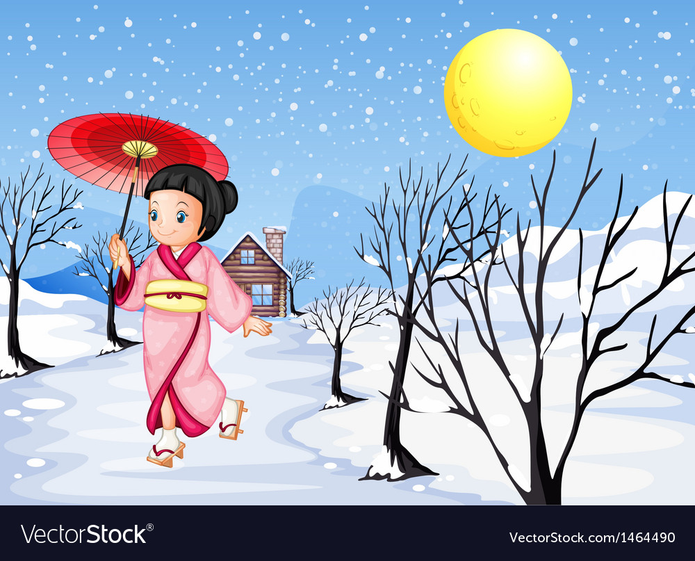 A chinese lady walking under the snow vector | Price: 1 Credit (USD $1)