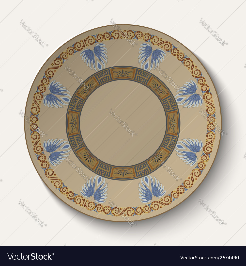 Background in the form of plate with an ornament vector | Price: 1 Credit (USD $1)