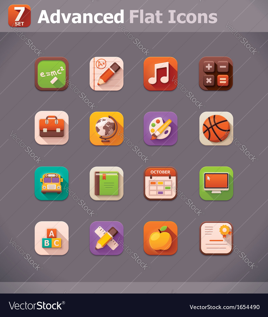 Flat school icons vector | Price: 1 Credit (USD $1)
