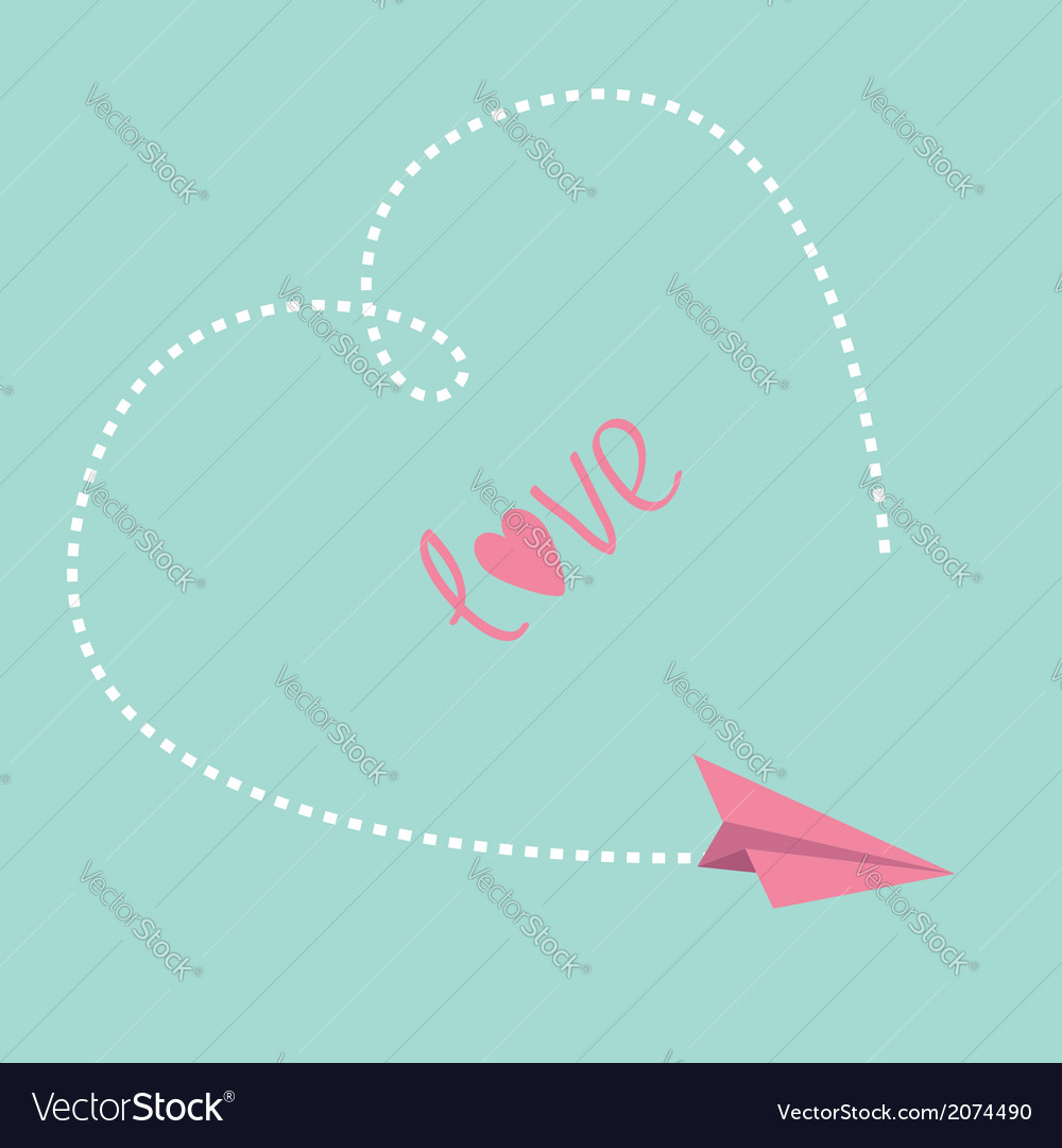 Flying paper plane big dash heart in the sky love vector | Price: 1 Credit (USD $1)
