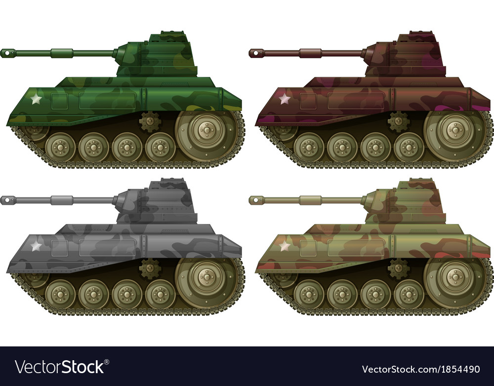 Four combat tanks vector | Price: 1 Credit (USD $1)