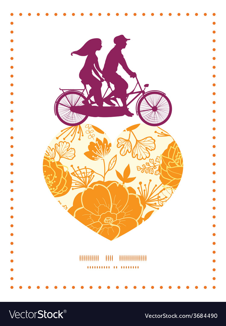 Golden art flowers couple on tandem bicycle heart vector | Price: 1 Credit (USD $1)