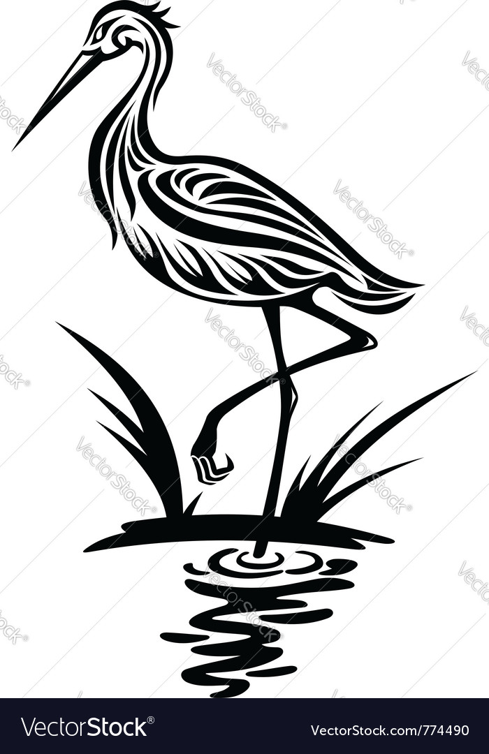 Heron bird silhouette vector | Price: 1 Credit (USD $1)