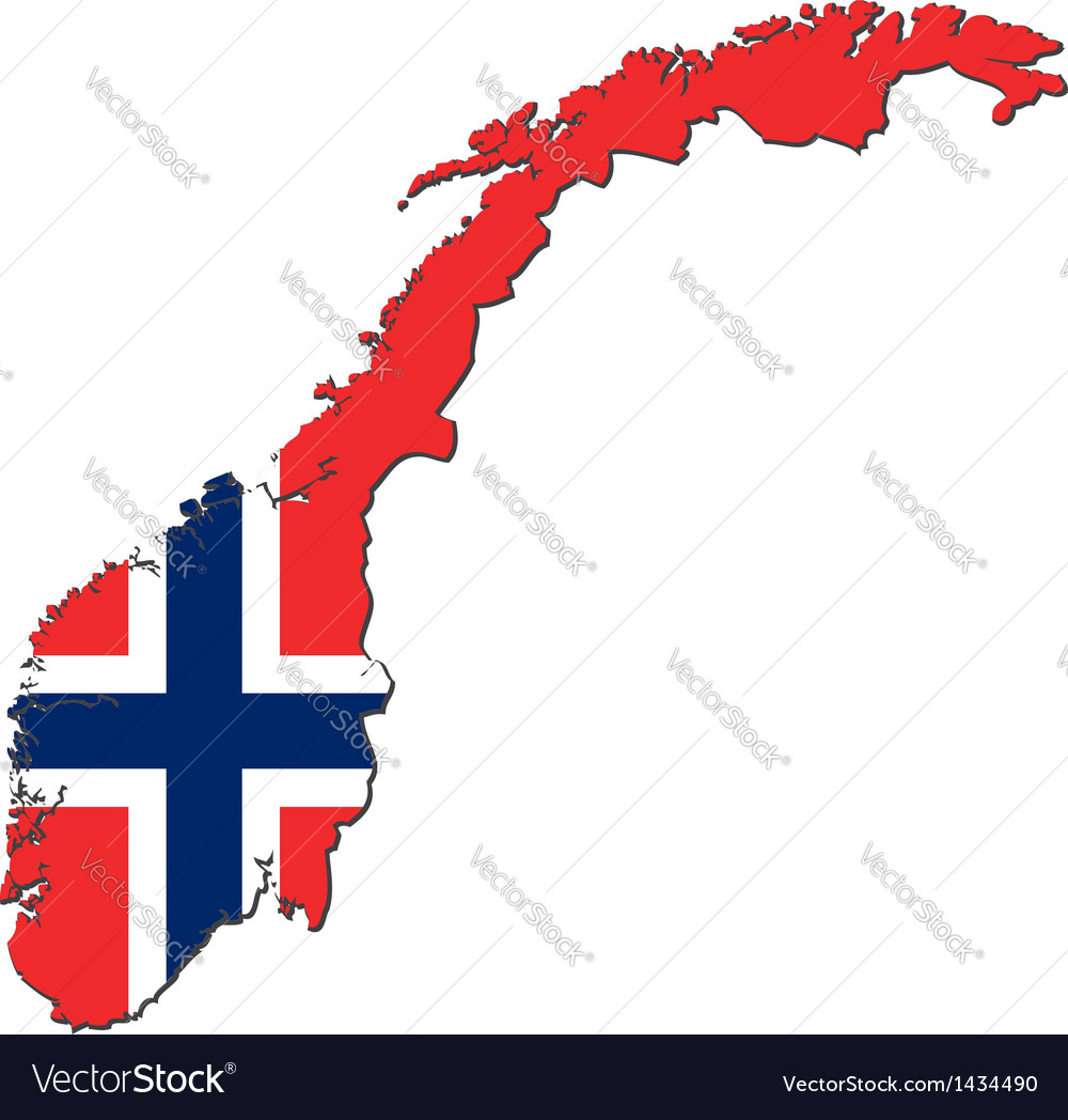Map of norway with national flag vector | Price: 1 Credit (USD $1)