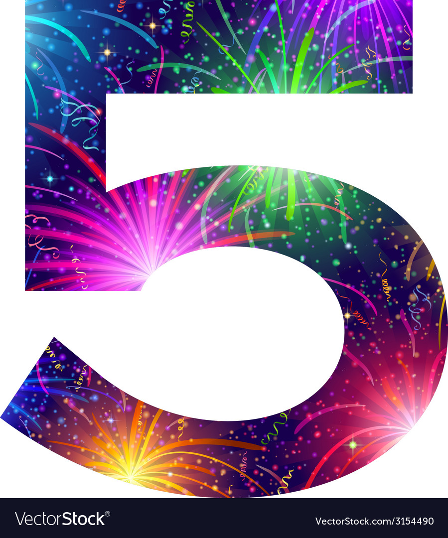 Number of colorful firework five vector | Price: 1 Credit (USD $1)