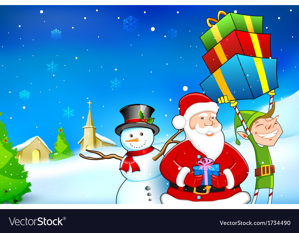 Santa with snowman and elf vector | Price: 1 Credit (USD $1)