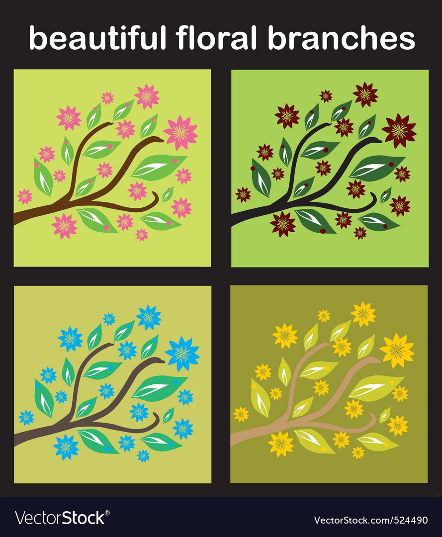 Set of floral branches vector | Price: 1 Credit (USD $1)