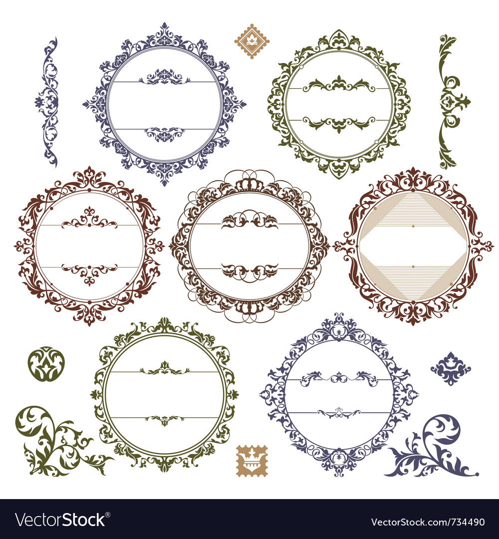 Set of royal vintage frames vector | Price: 1 Credit (USD $1)