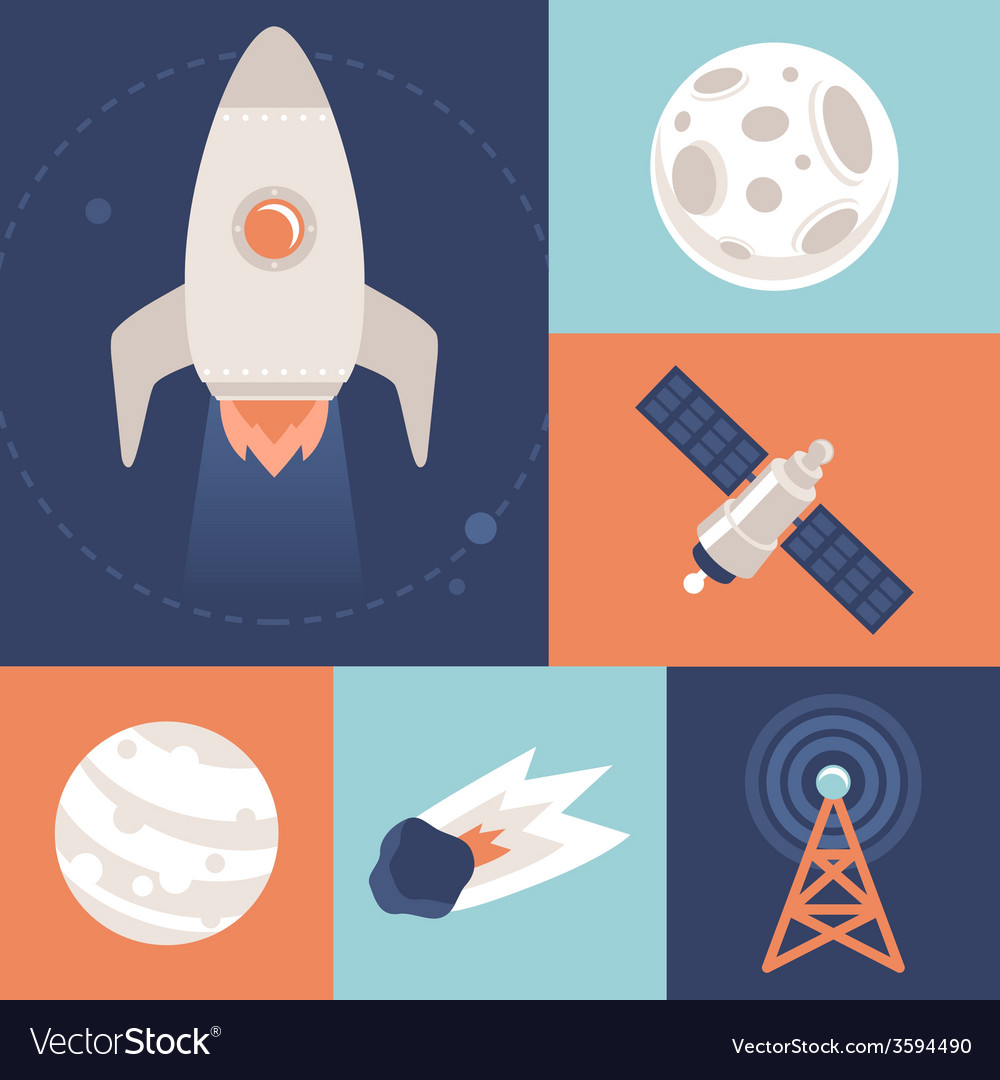 Space icons in flat style vector | Price: 1 Credit (USD $1)