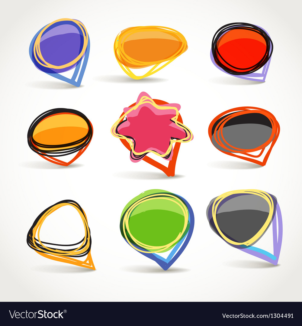 Abstract talking bubble set vector | Price: 1 Credit (USD $1)