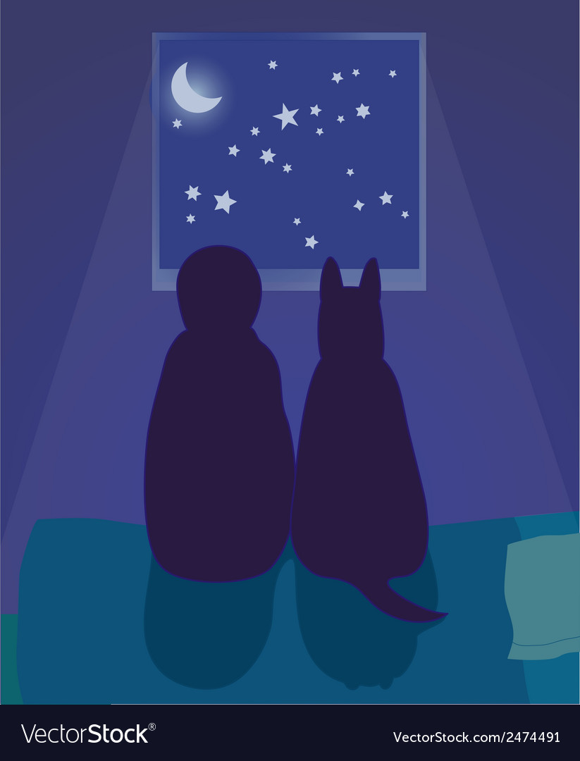 Child and dog looking at the night sky vector | Price: 1 Credit (USD $1)