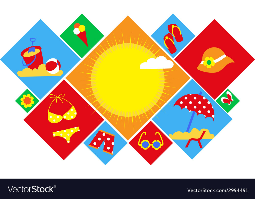 Colorful set of summer icons happy holidays vector | Price: 1 Credit (USD $1)