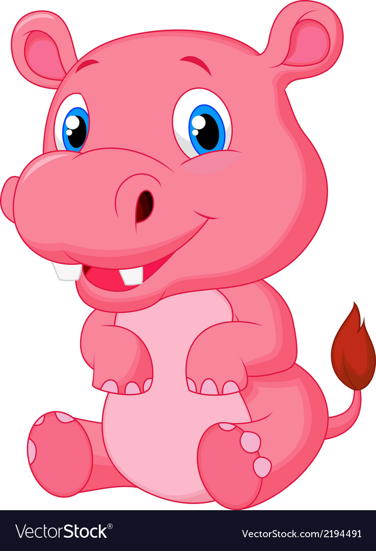 Cute hippo cartoon vector | Price: 1 Credit (USD $1)