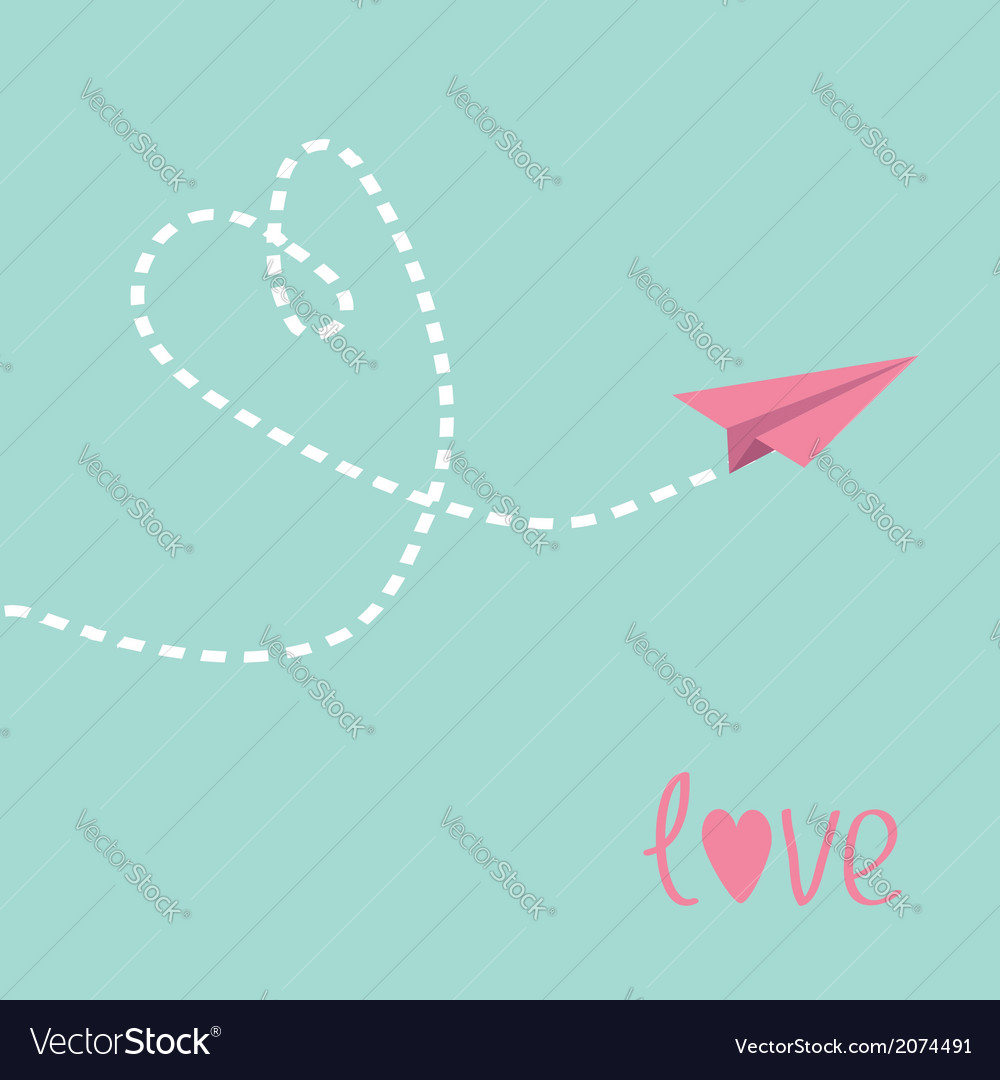 Flying paper plane heart in the sky love card vector | Price: 1 Credit (USD $1)