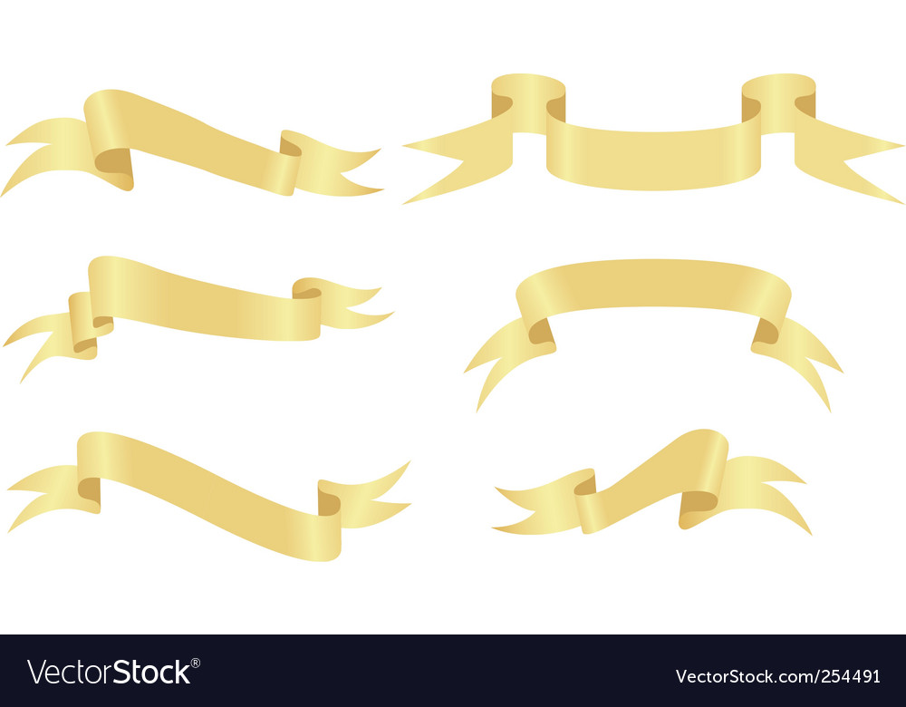 Gold banners on a white vector | Price: 1 Credit (USD $1)
