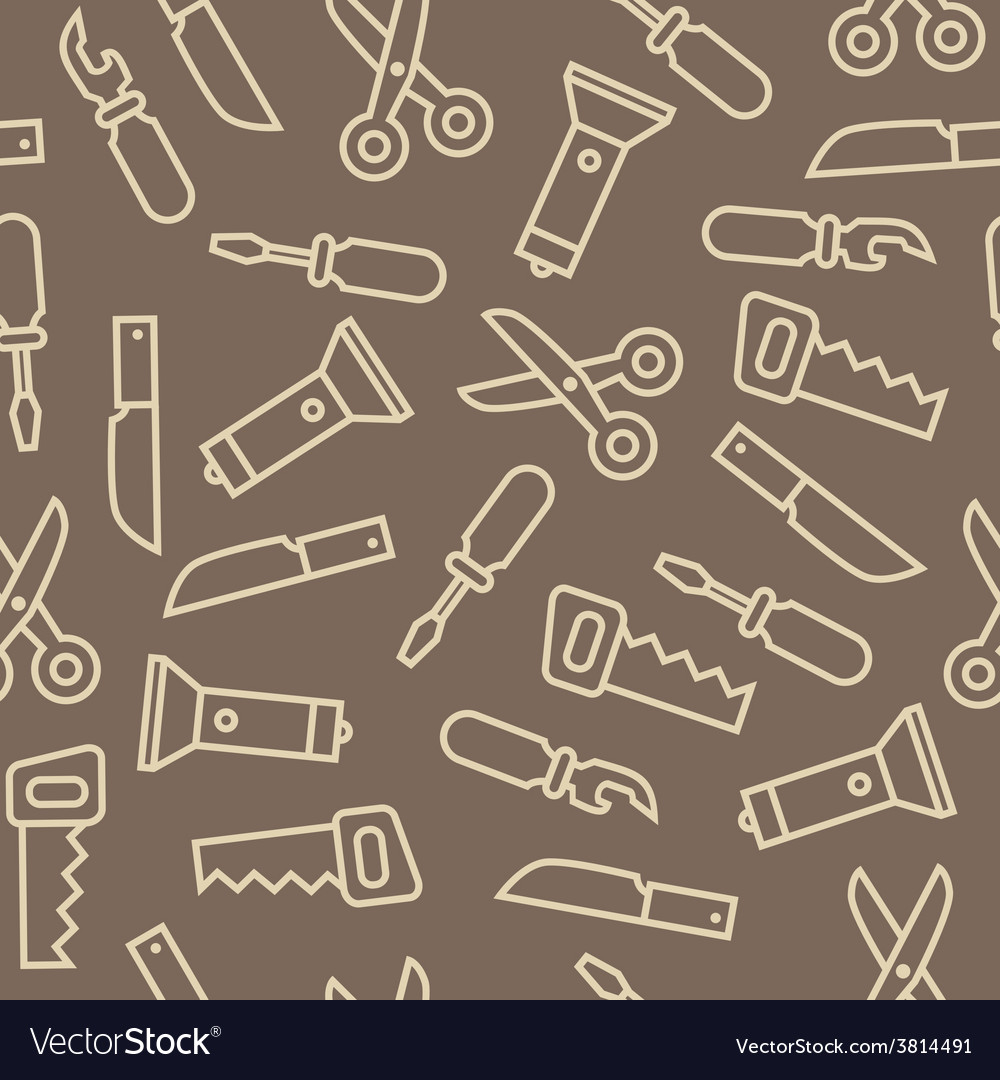 Linear swiss knife tools on brown back seamless vector | Price: 1 Credit (USD $1)
