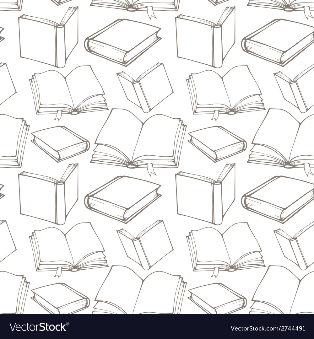 Seamless pattern with outline decorative books vector | Price: 1 Credit (USD $1)