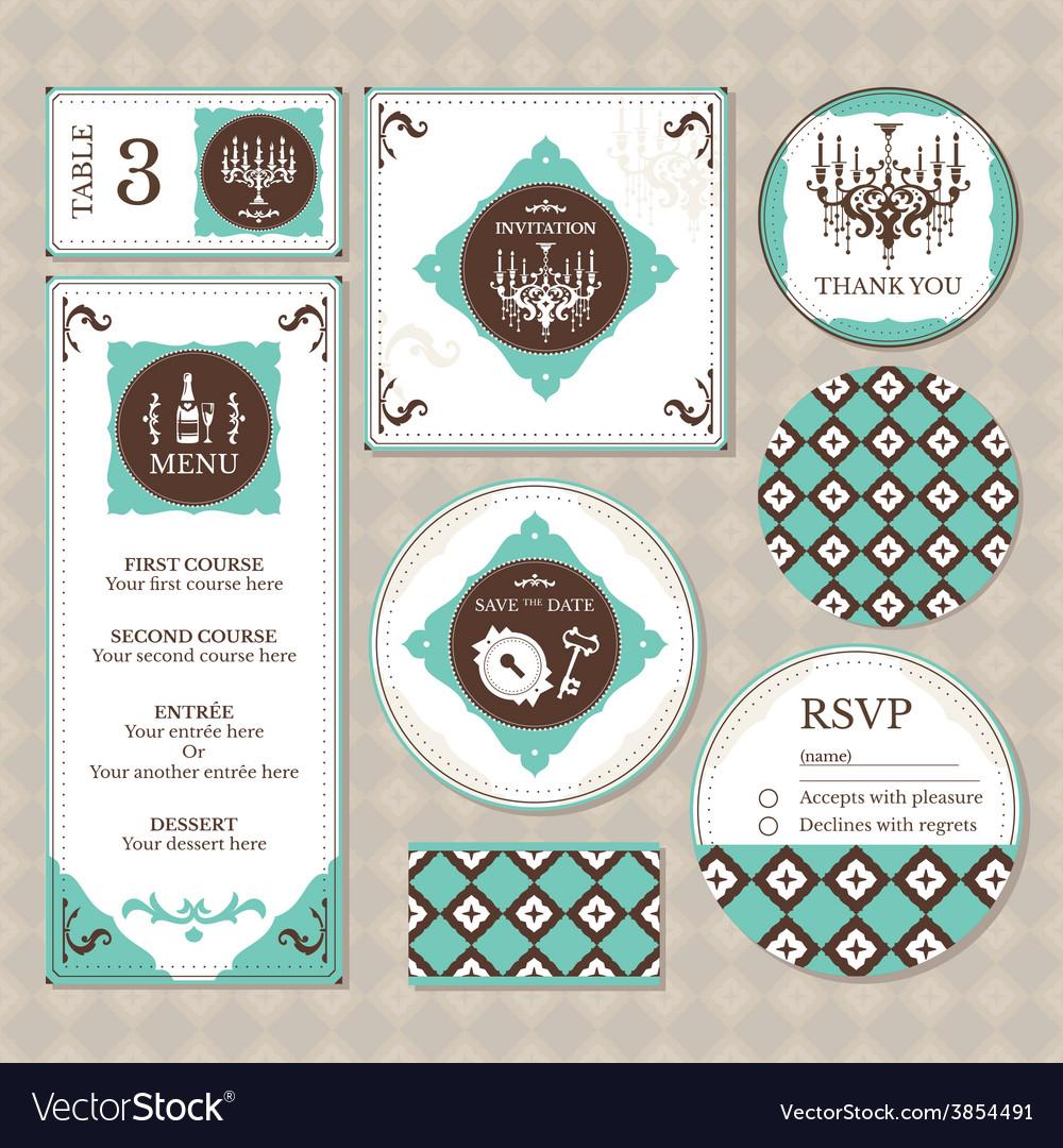 Set of retro wedding cards vector | Price: 1 Credit (USD $1)
