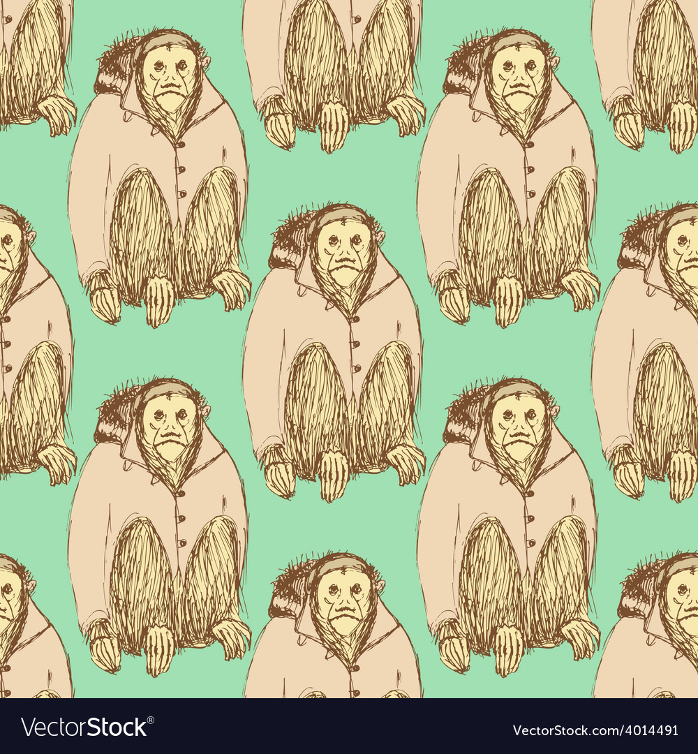 Sketch fancy uakari in vintage style vector | Price: 1 Credit (USD $1)