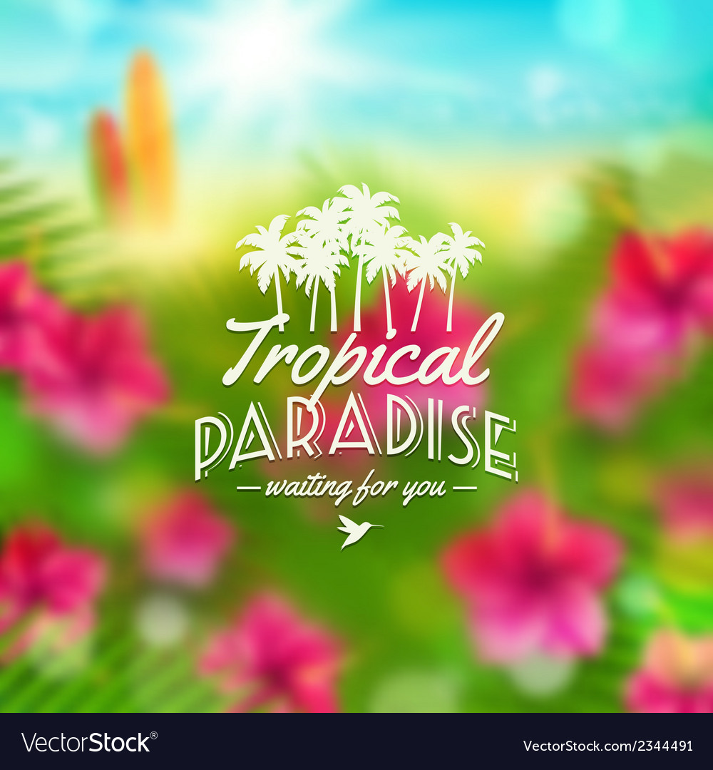 Type design with tropical nature vector | Price: 1 Credit (USD $1)