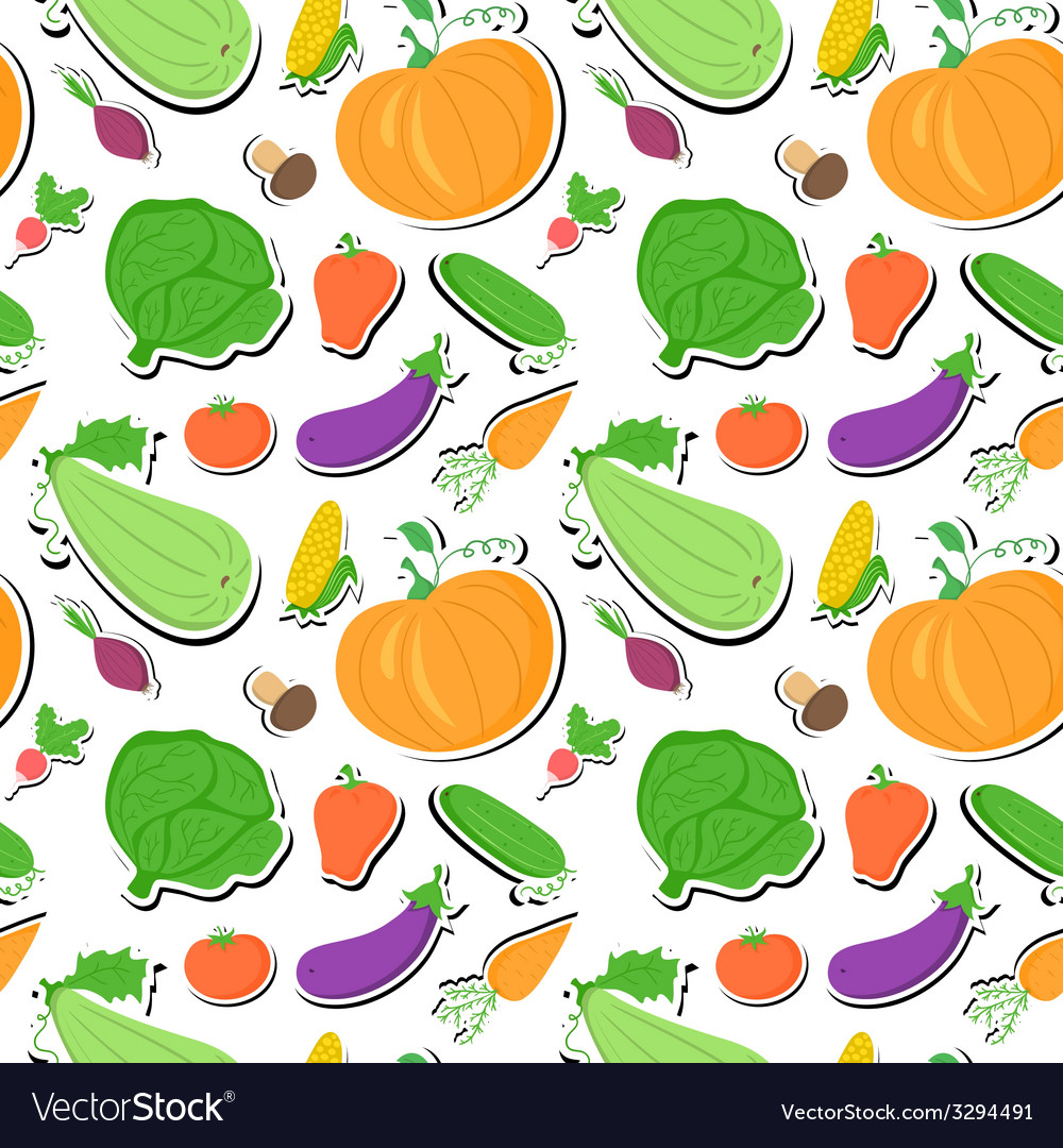 Vegetables seamless pattern background with great vector | Price: 1 Credit (USD $1)
