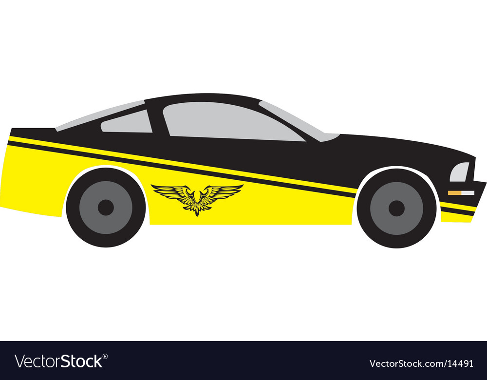 Yellow race car vector | Price: 1 Credit (USD $1)