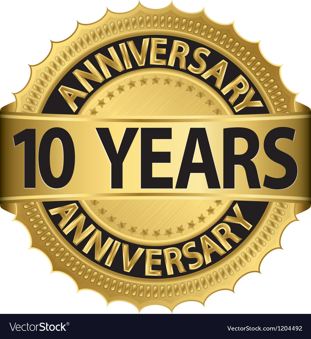 10 years anniversary golden label with ribbon vector | Price: 1 Credit (USD $1)