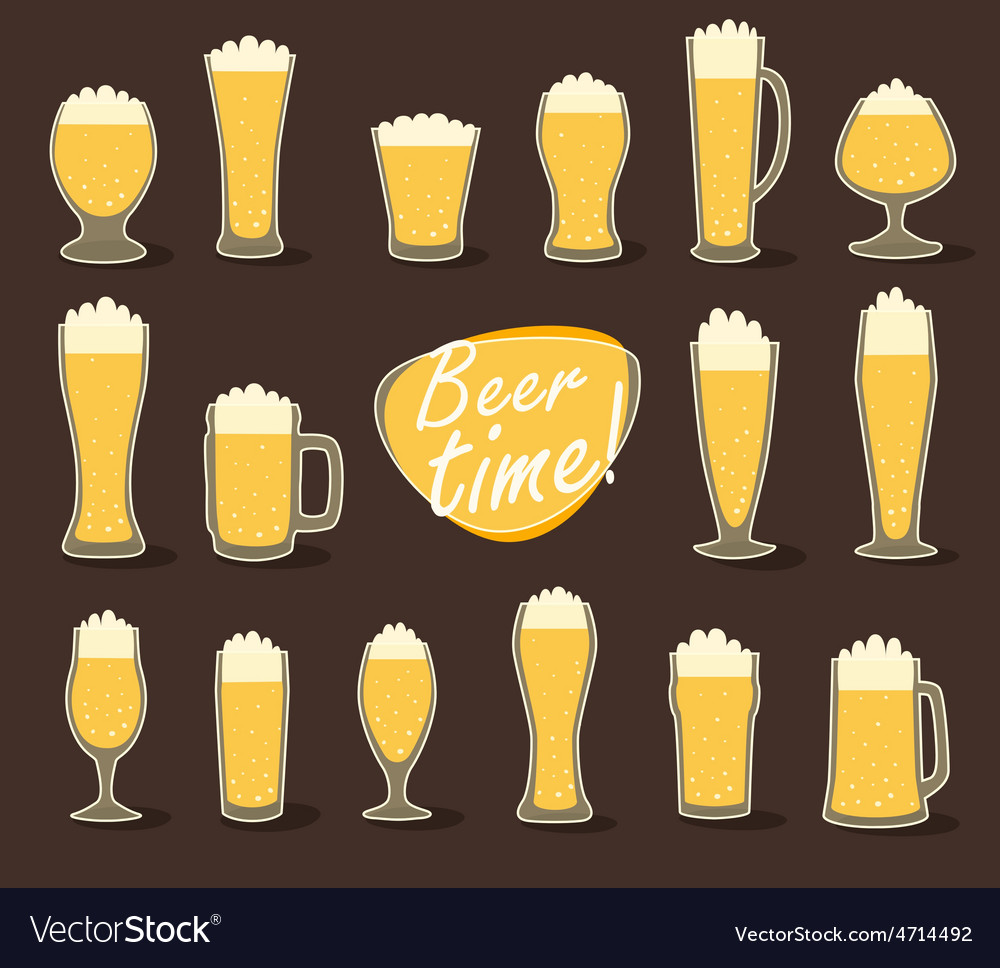 Beer in glass pint of beer flat icon set vector | Price: 1 Credit (USD $1)