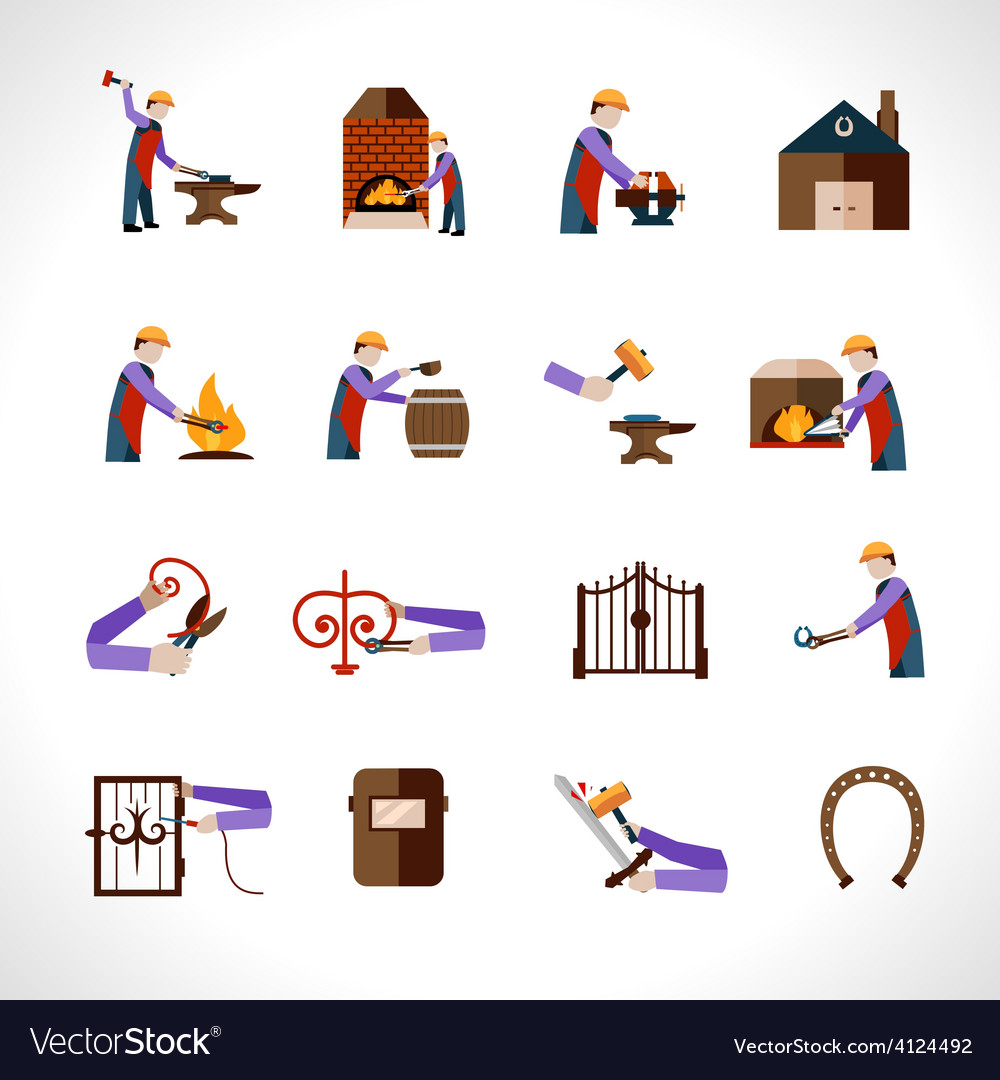 Blacksmith icons set vector | Price: 1 Credit (USD $1)
