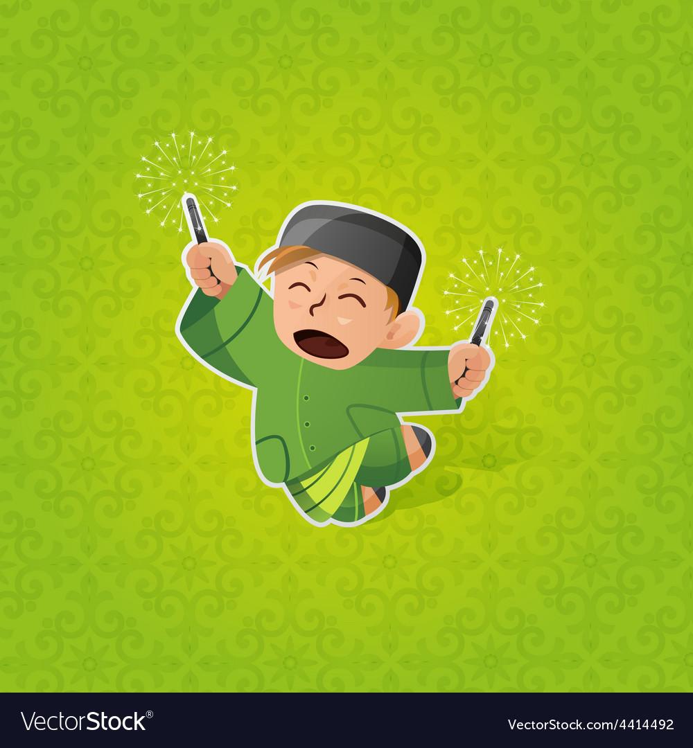 Boy celebrating hari raya aidilfitri vector