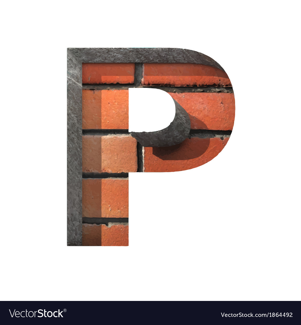 Brick cutted figure p paste to any background vector | Price: 1 Credit (USD $1)