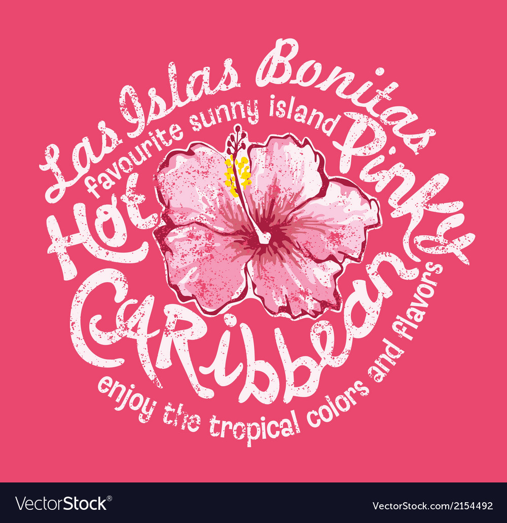 Caribbean island with hibiscus vector | Price: 1 Credit (USD $1)