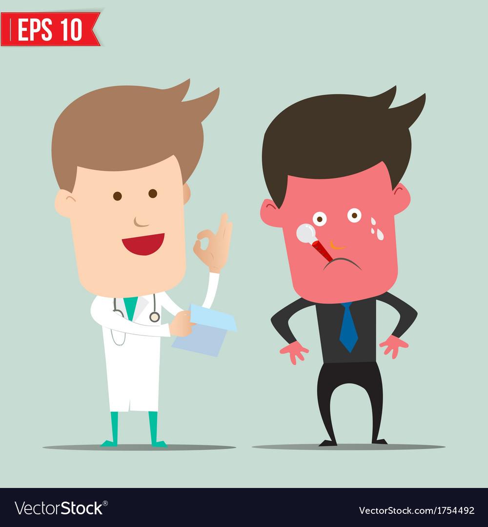 Cartoon doctor and patient - - eps10 vector | Price: 1 Credit (USD $1)