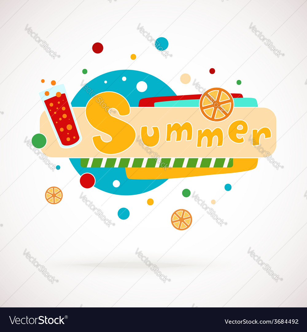 Colorful word summer with glass of juice vector | Price: 1 Credit (USD $1)