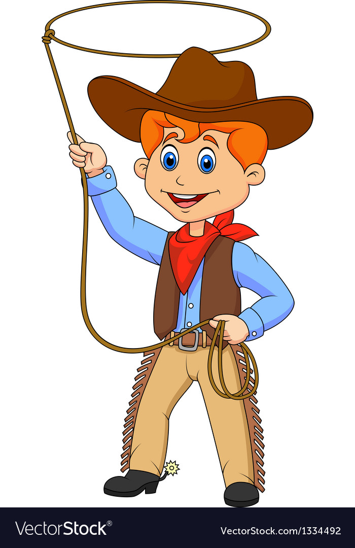 Cowboy kid cartoon twirling a lasso vector | Price: 1 Credit (USD $1)