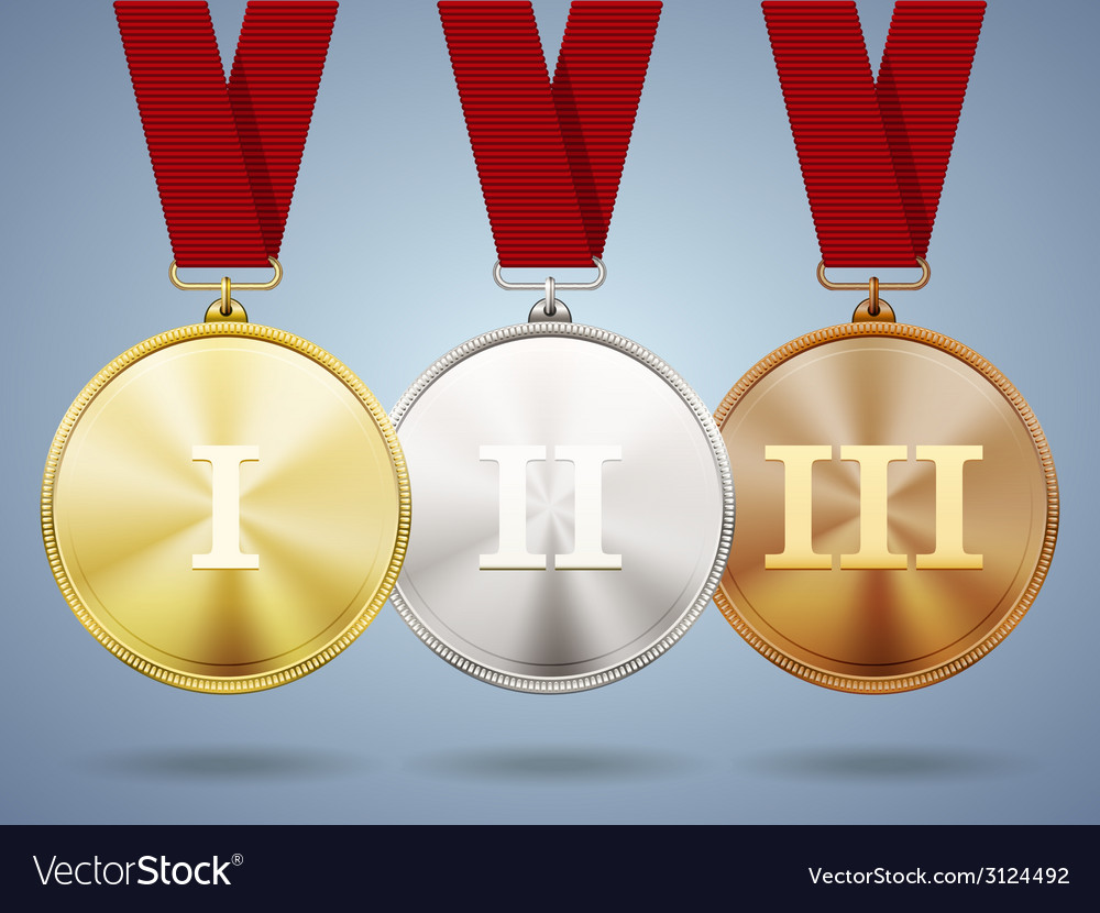 Gold silver and bronze medals on ribbons vector | Price: 1 Credit (USD $1)